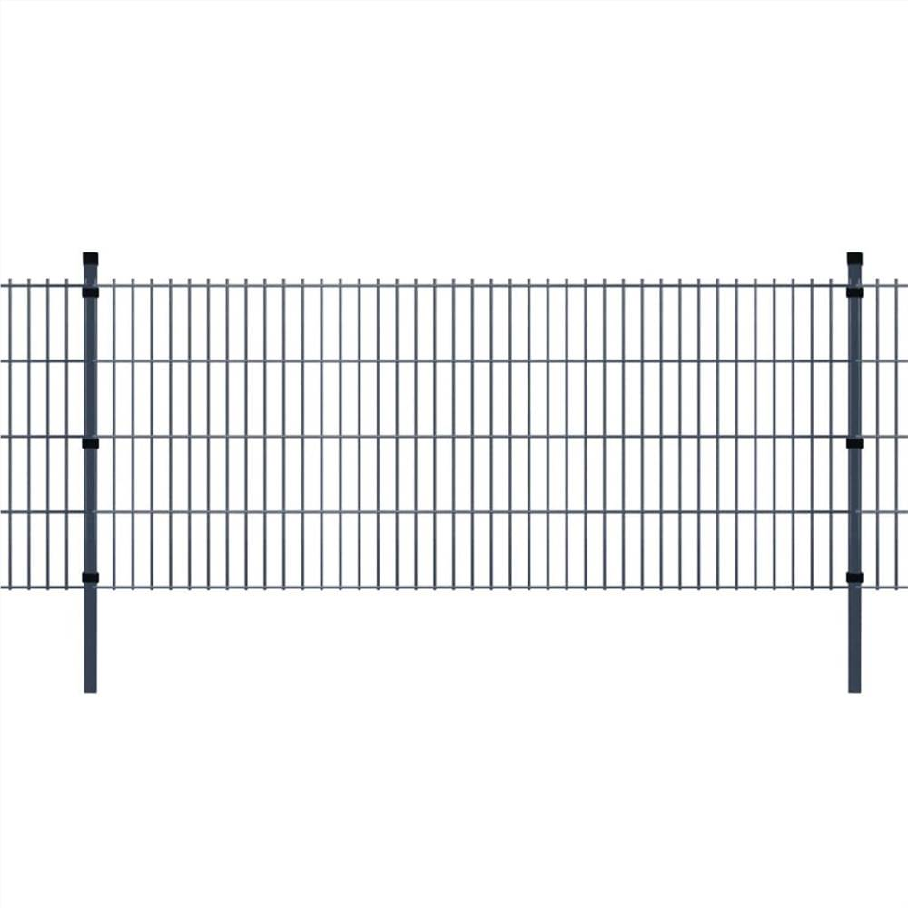 2D Garden Fence Panels & Posts 2008x1830 mm 16 m Grey