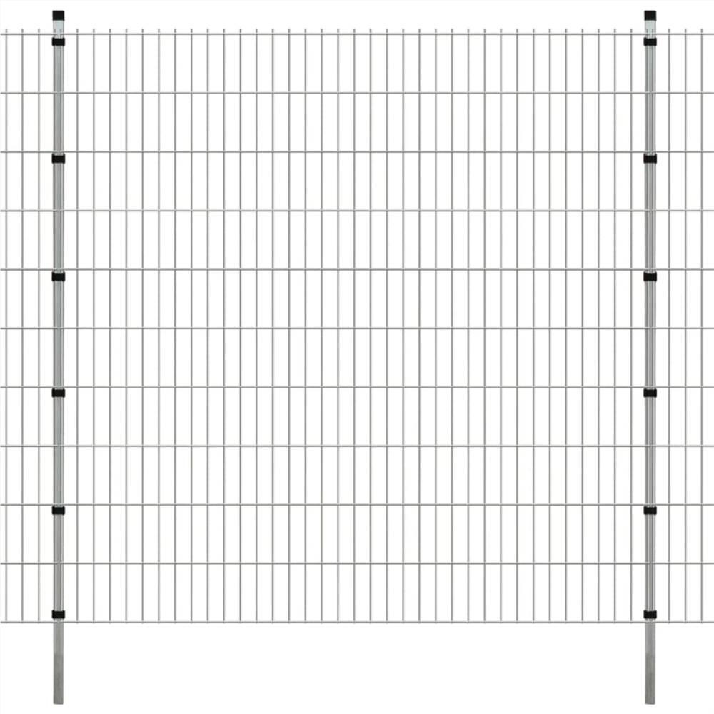 2D Gartenzaun Panels & Pfosten 2008x2030 mm 14 m Silber