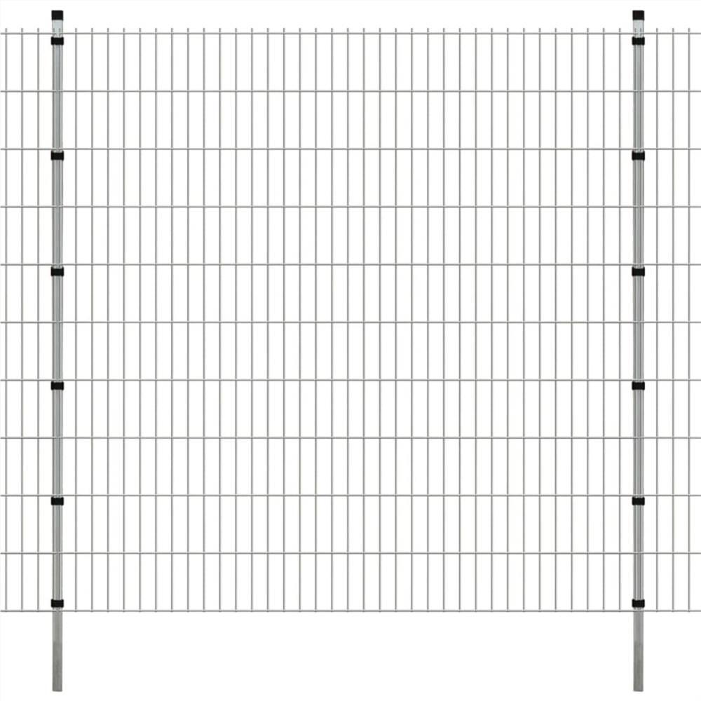 Pannelli e pali per recinzione da giardino 2D 2008x2030 mm 36 m Argento