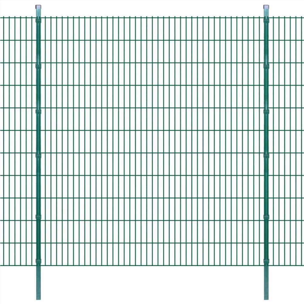 2D Garden Fence Panels & Posts 2008x2230 mm 16 m Green