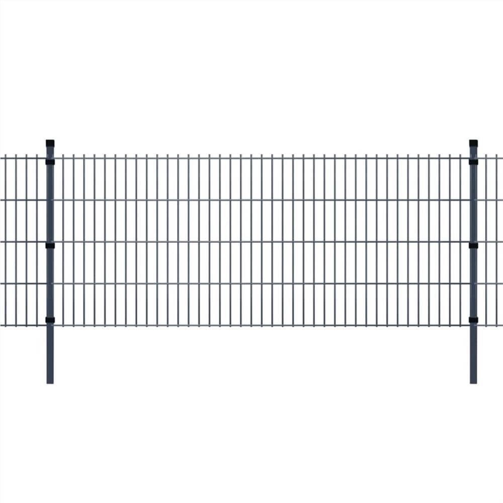 2D Garden Fence Panels & Posts 2008x830 mm 18 m Grey