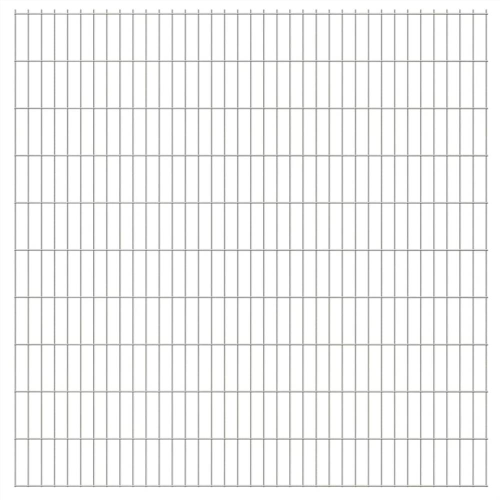2D Garden Fence Panels 2.008x2.03 m 10 m (Total Length) Silver