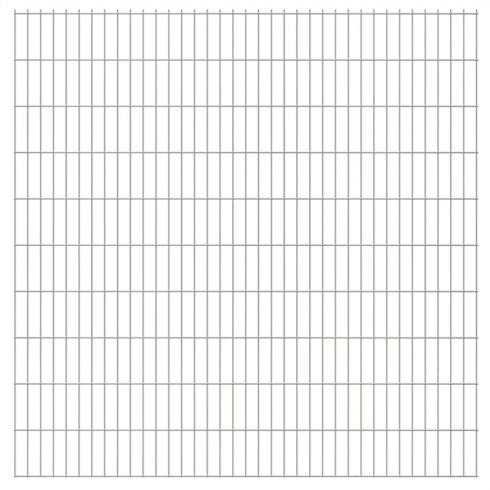 2D Garden Fence Panels 2.008x2.03 m 22 m (Total Length) Silver