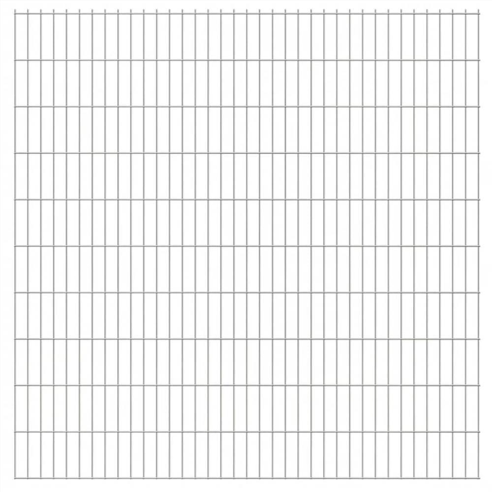 2D Garden Fence Panels 2.008x2.03 m 28 m (Total Length) Silver