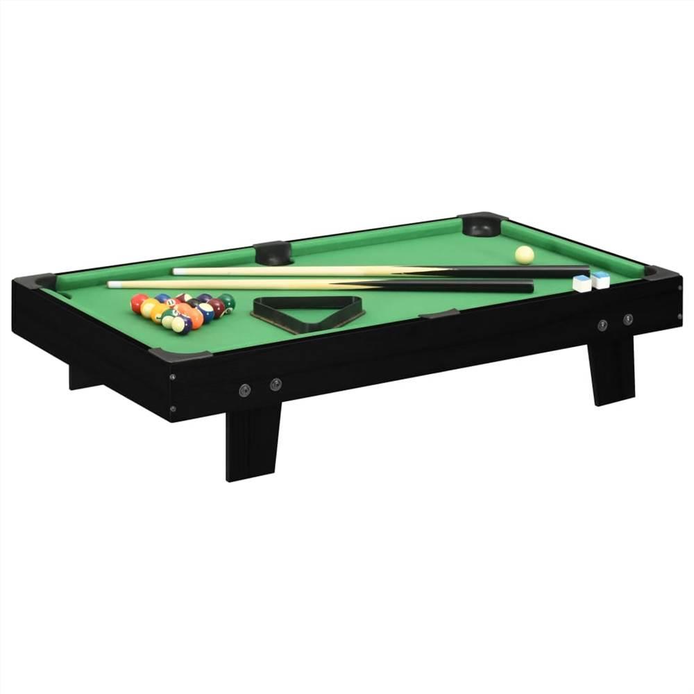 Mini table de billard 3 pieds 92x52x19 cm noir et vert