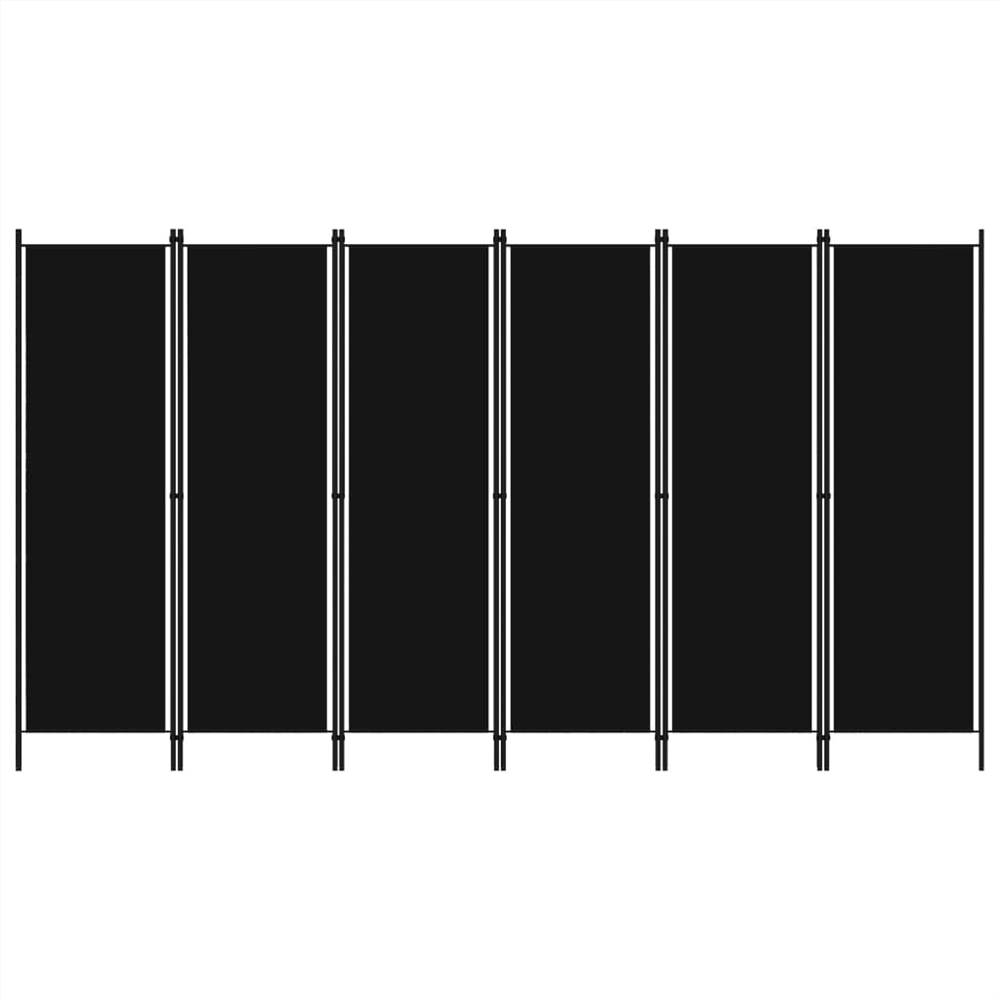 Séparateur de pièce à 6 panneaux noir 300x180 cm
