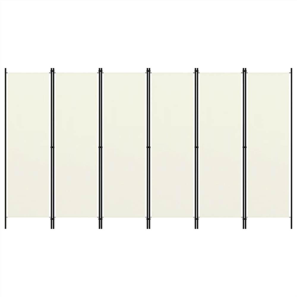 Séparateur de pièce à 6 panneaux blanc crème 300x180 cm