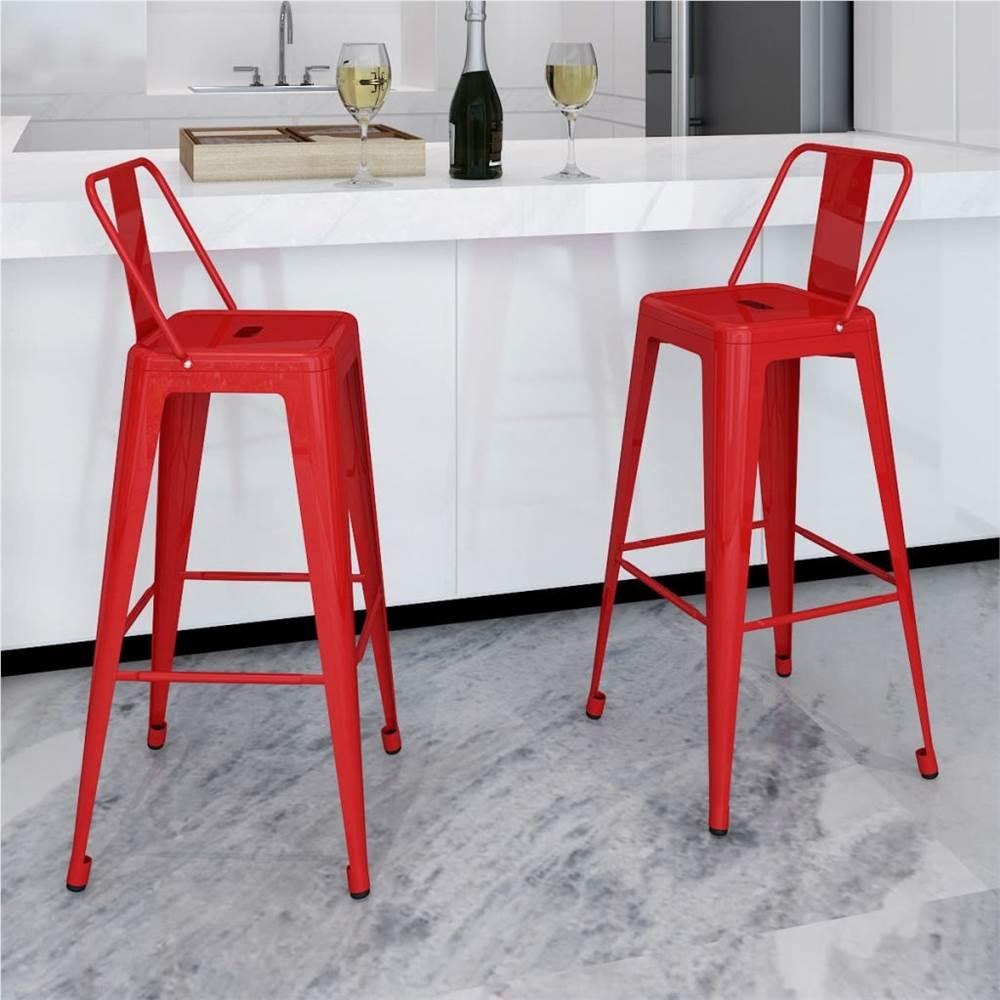 Tabourets de bar 2 pièces acier rouge