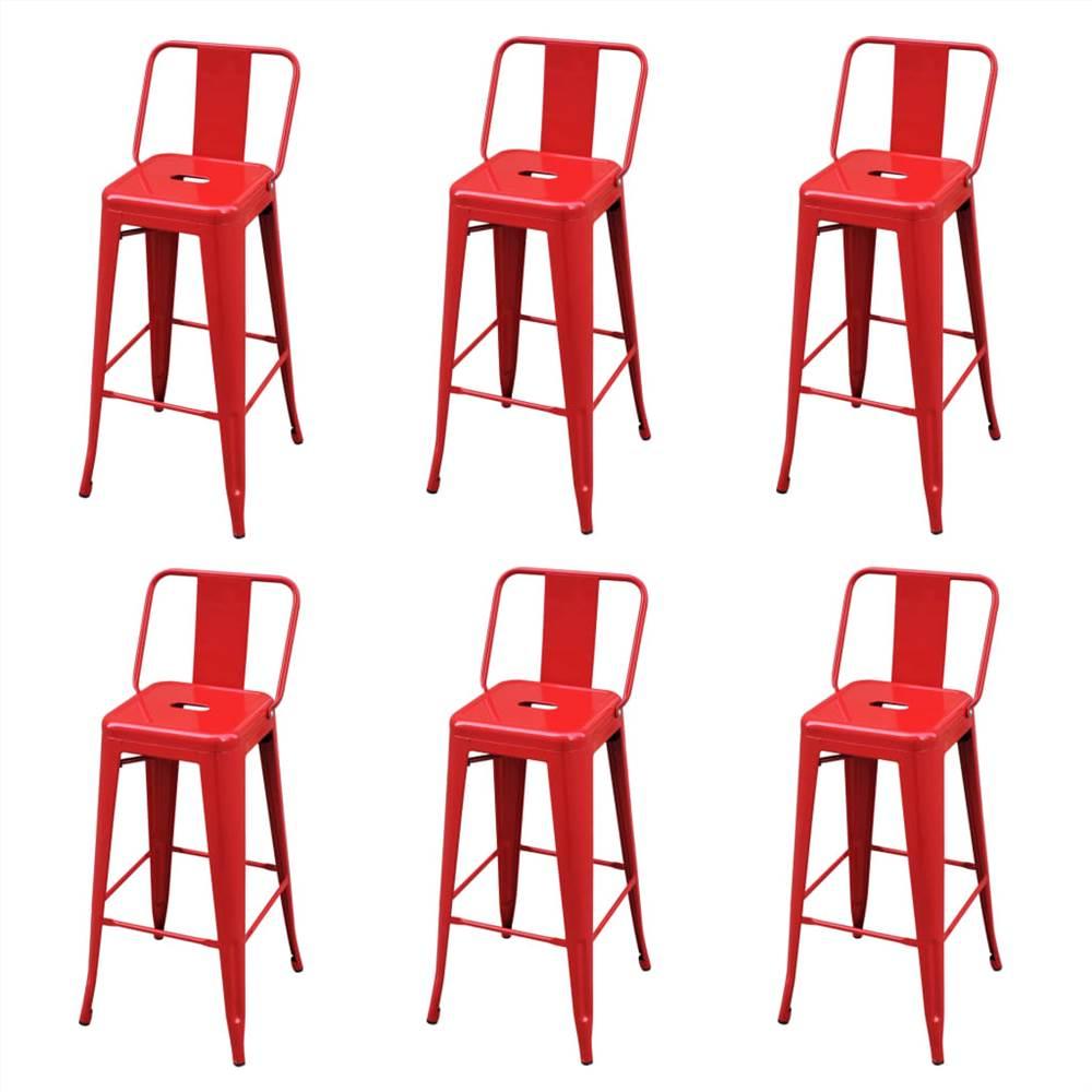 Tabourets de bar 6 pièces acier rouge