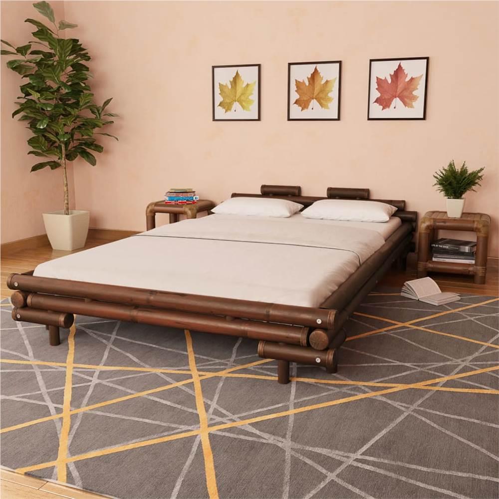 Bed Frame Dark Brown Bamboo 140x200 cm