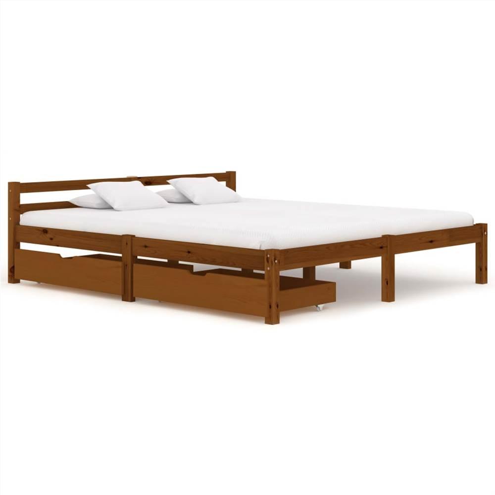 Cadre de lit avec 2 tiroirs Bois de pin massif brun miel 160x200 cm