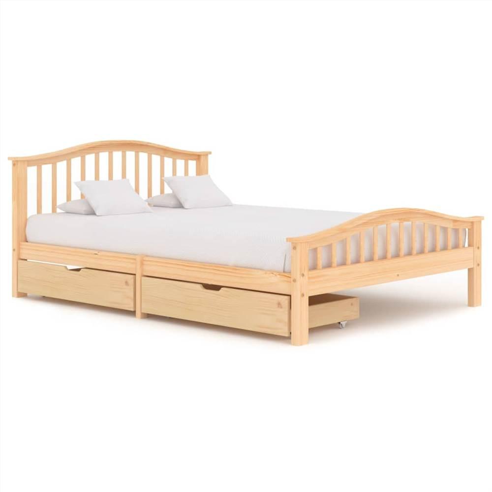 Cadre de lit avec 2 tiroirs Bois de pin massif 140x200 cm