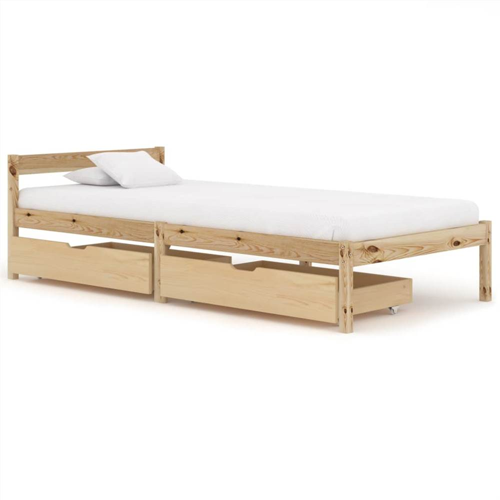 Cadre de lit avec 2 tiroirs Bois de pin massif 90x200 cm