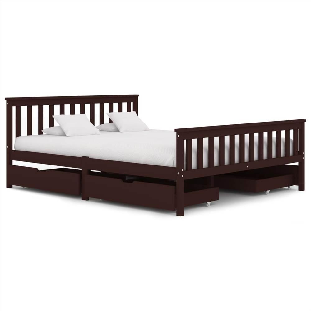 Cadre de lit avec 4 tiroirs Bois de pin massif brun foncé 160x200 cm