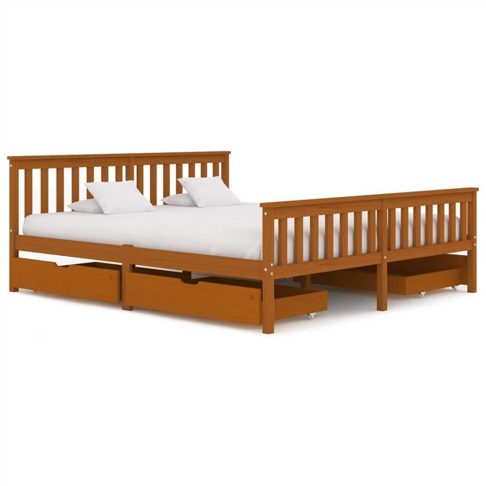 Cadre de lit avec 4 tiroirs Bois de pin massif brun miel 180x200 cm