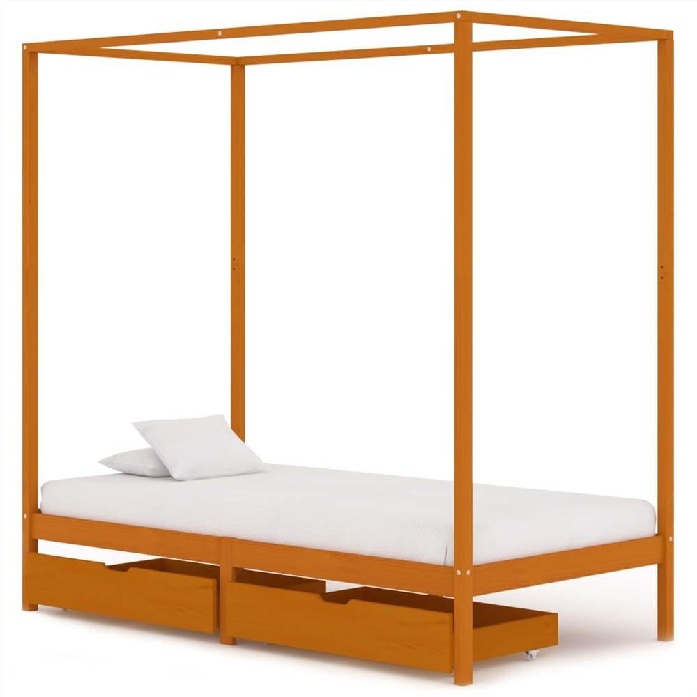 Cadre de lit à baldaquin avec 2 tiroirs Bois de pin massif 100x200 cm