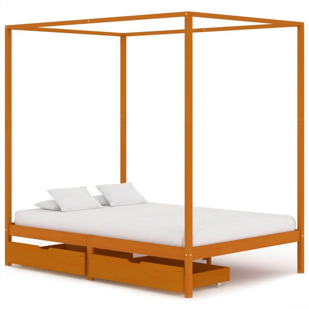 Cadre de lit à baldaquin avec 2 tiroirs Bois de pin massif 140x200 cm