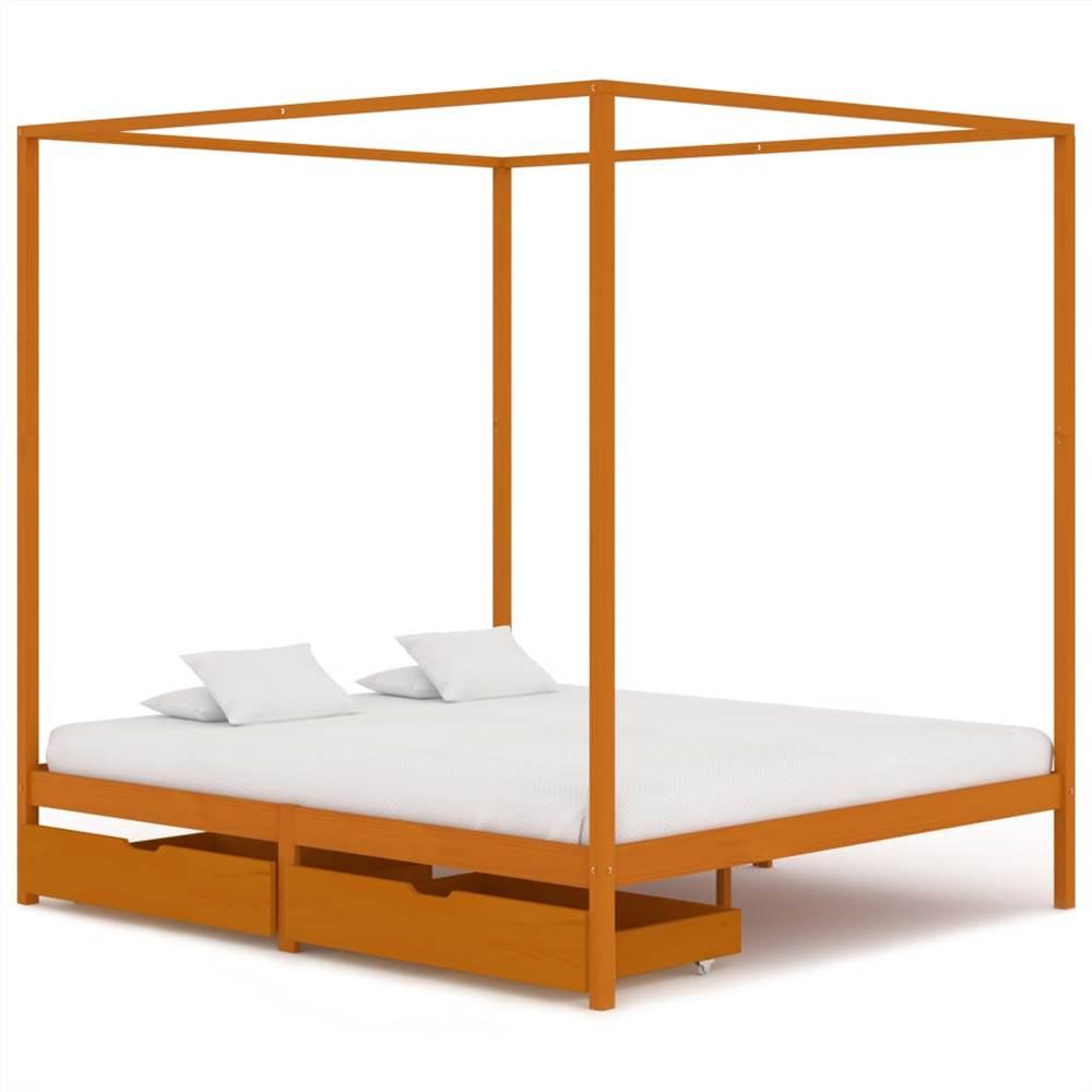 Cadre de lit à baldaquin avec 2 tiroirs Bois de pin massif 160x200 cm