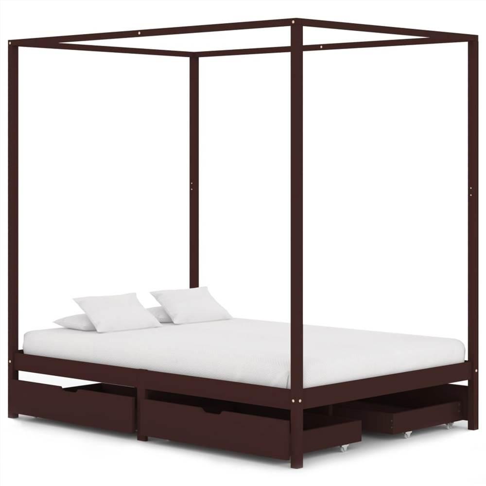 Cadre de lit à baldaquin avec 4 tiroirs Bois de pin brun foncé 140x200 cm