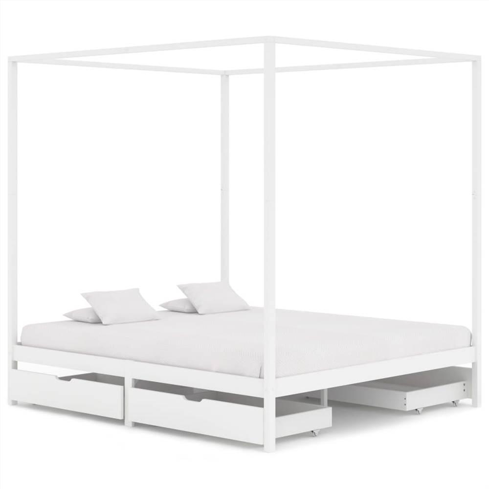 Cadre de lit à baldaquin avec 4 tiroirs Bois de pin massif blanc 160x200cm