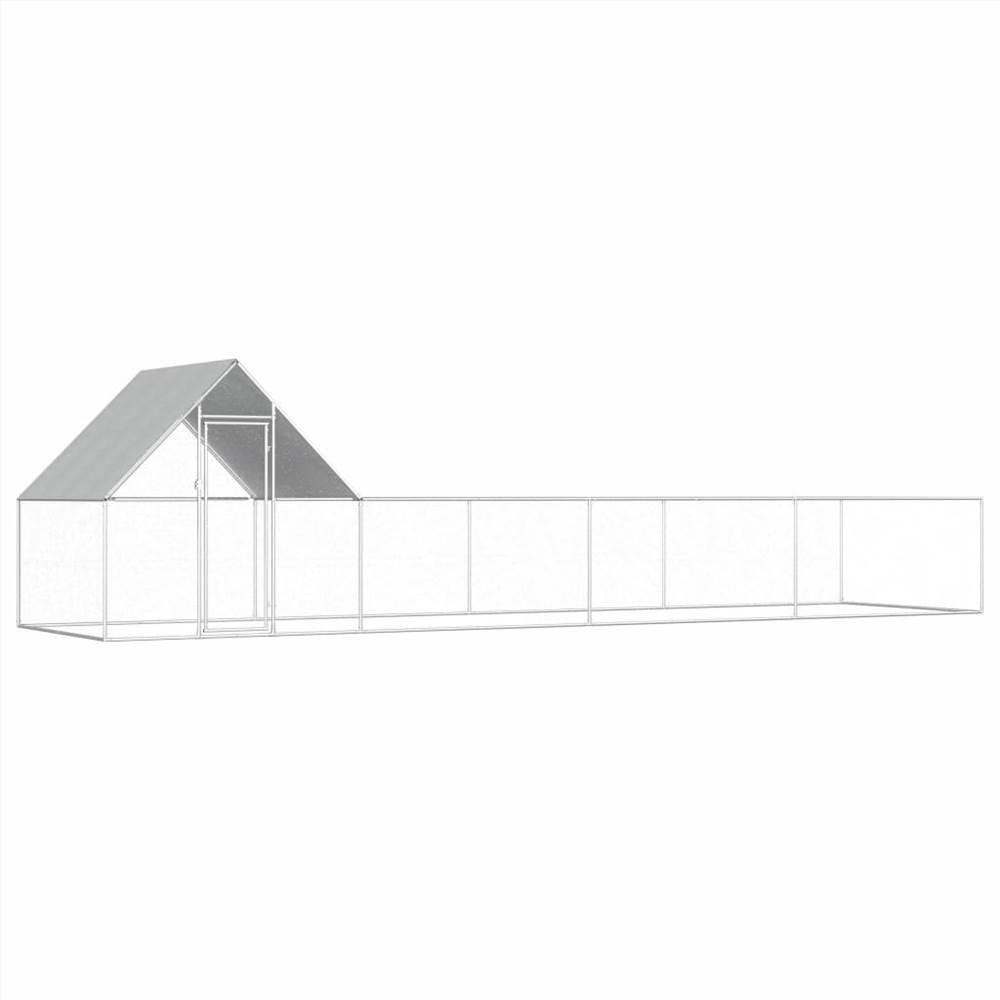 鶏小屋8x2x2m亜鉛メッキ鋼