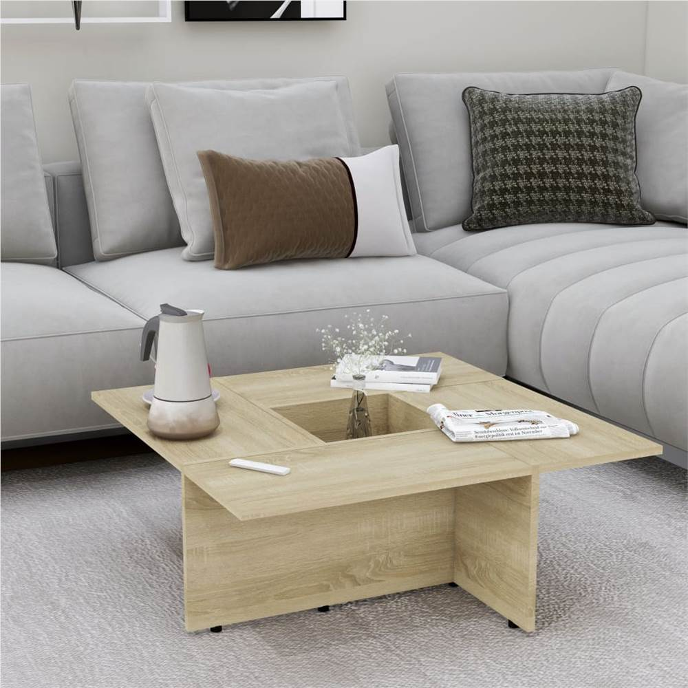 Coffee Table Sonoma Oak 79.5x79.5x30 cm Chipboard