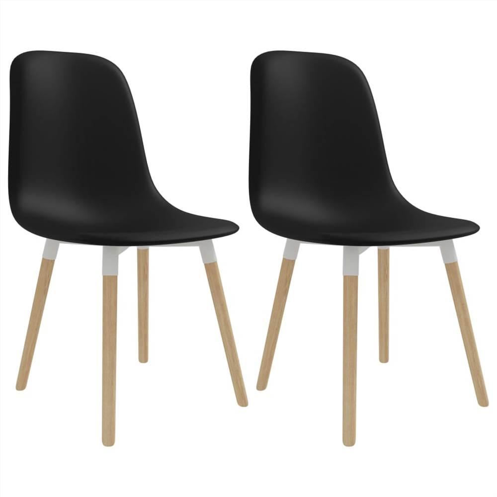 Chaises de salle à manger 2 pièces en plastique noir