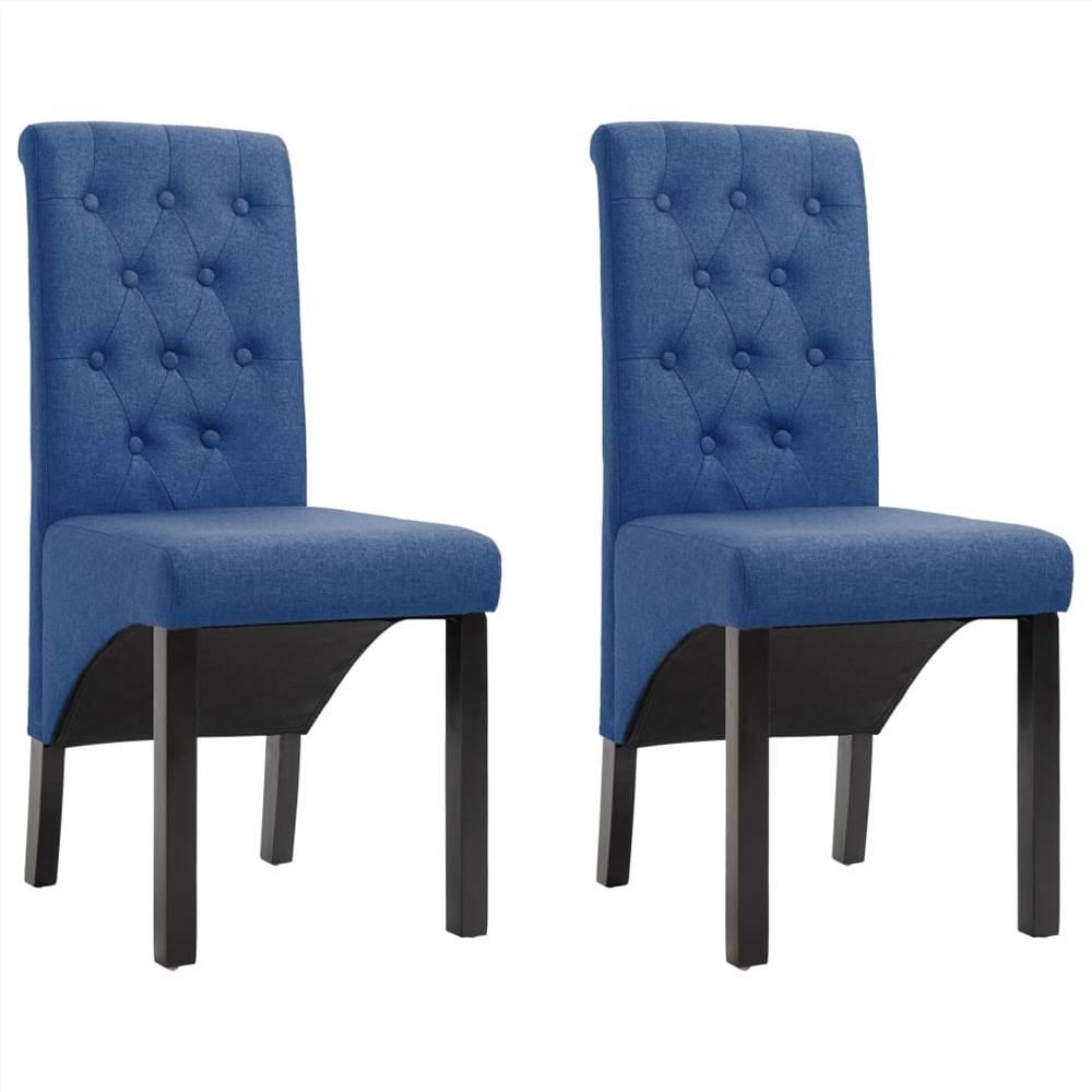 Chaises de salle à manger 2 pièces en tissu bleu