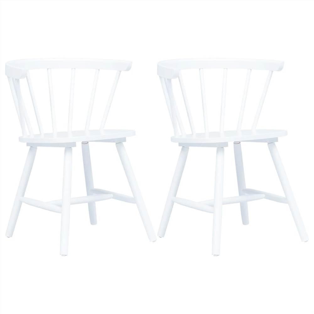Chaises de salle à manger 2 pièces en bois de caoutchouc massif blanc