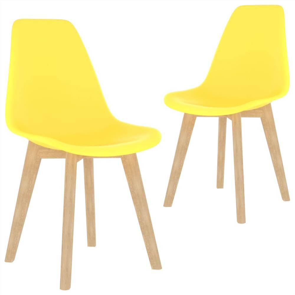 Chaises de salle à manger 2 pièces en plastique jaune