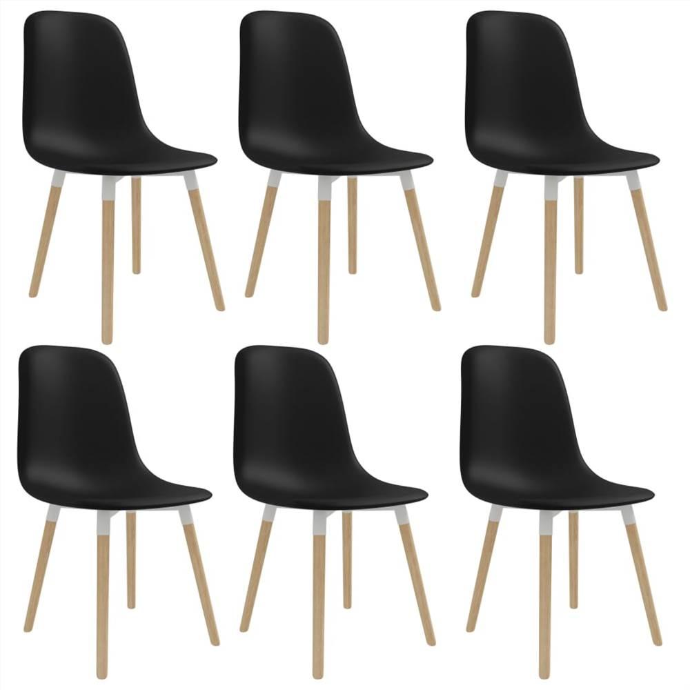 Chaises de salle à manger 6 pièces en plastique noir