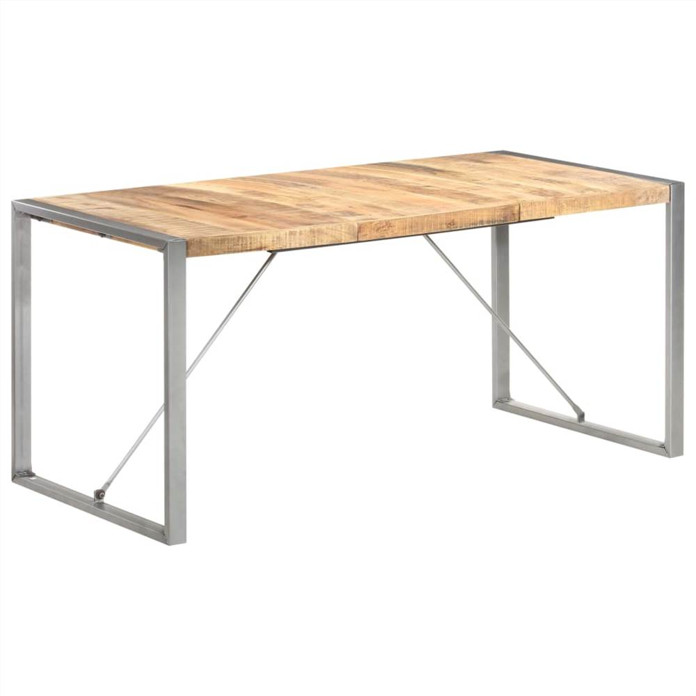 Dining Table 160x80x75 cm Solid Rough Mango Wood