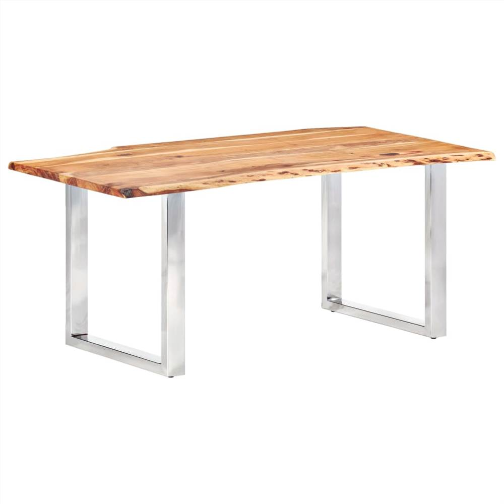 Table à manger avec bords vivants Bois d'acacia massif 200 cm 3.8 cm