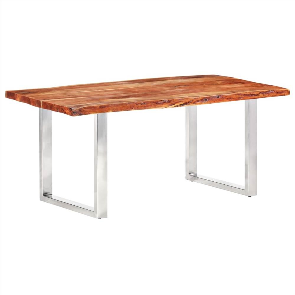 Table à manger avec bords vivants Bois d'acacia massif 200 cm 6 cm