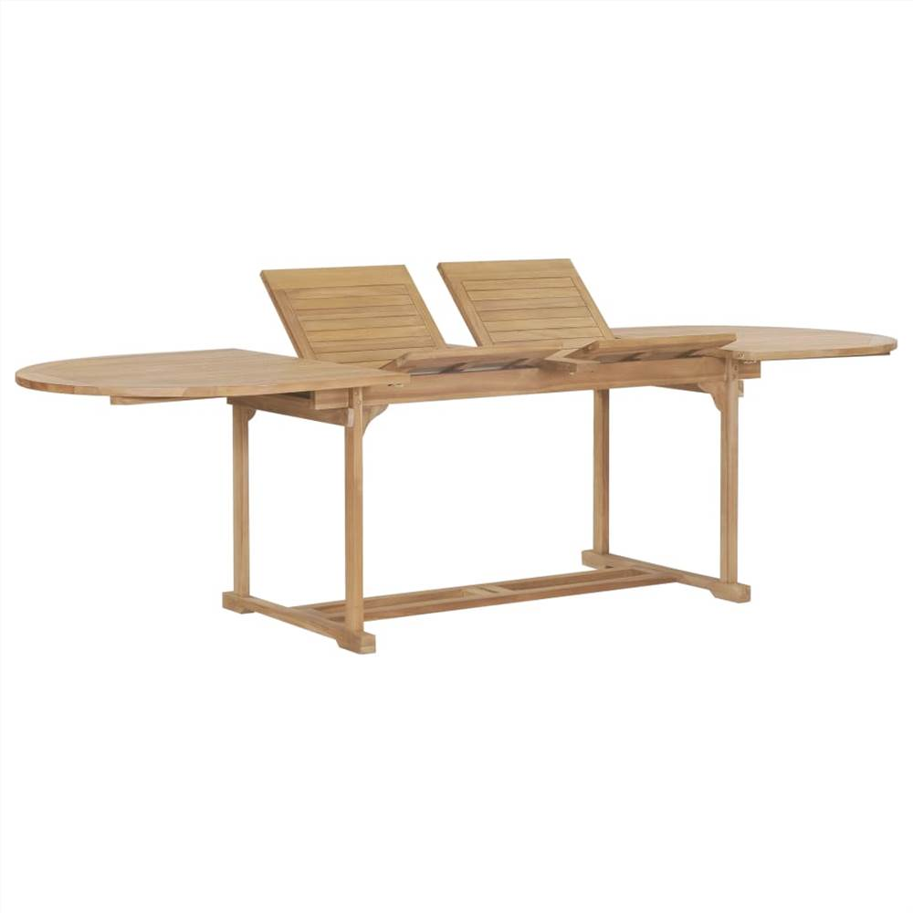 Table extensible de jardin 180-280x100x75cm ovale en bois de teck massif