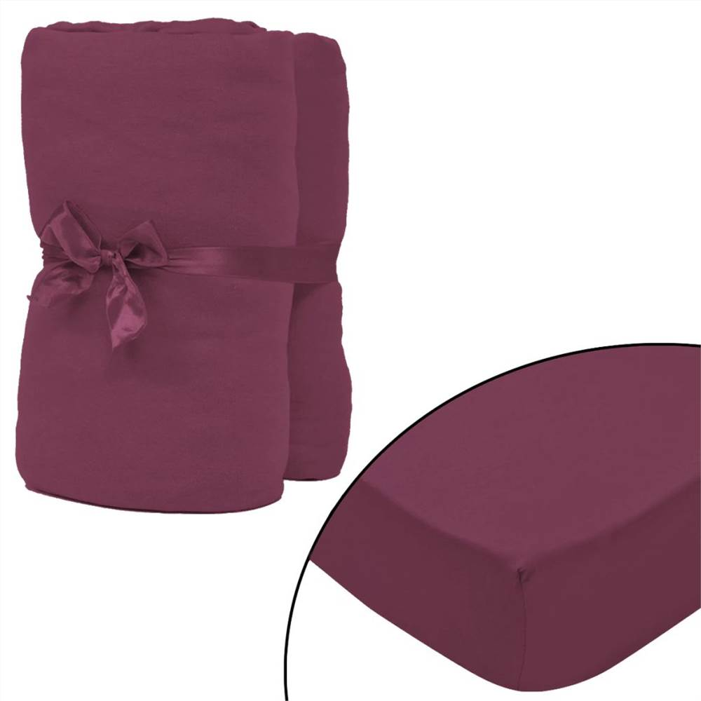 Drap-housse 2 pièces Jersey de coton 140x200-160x200 cm Bordeaux