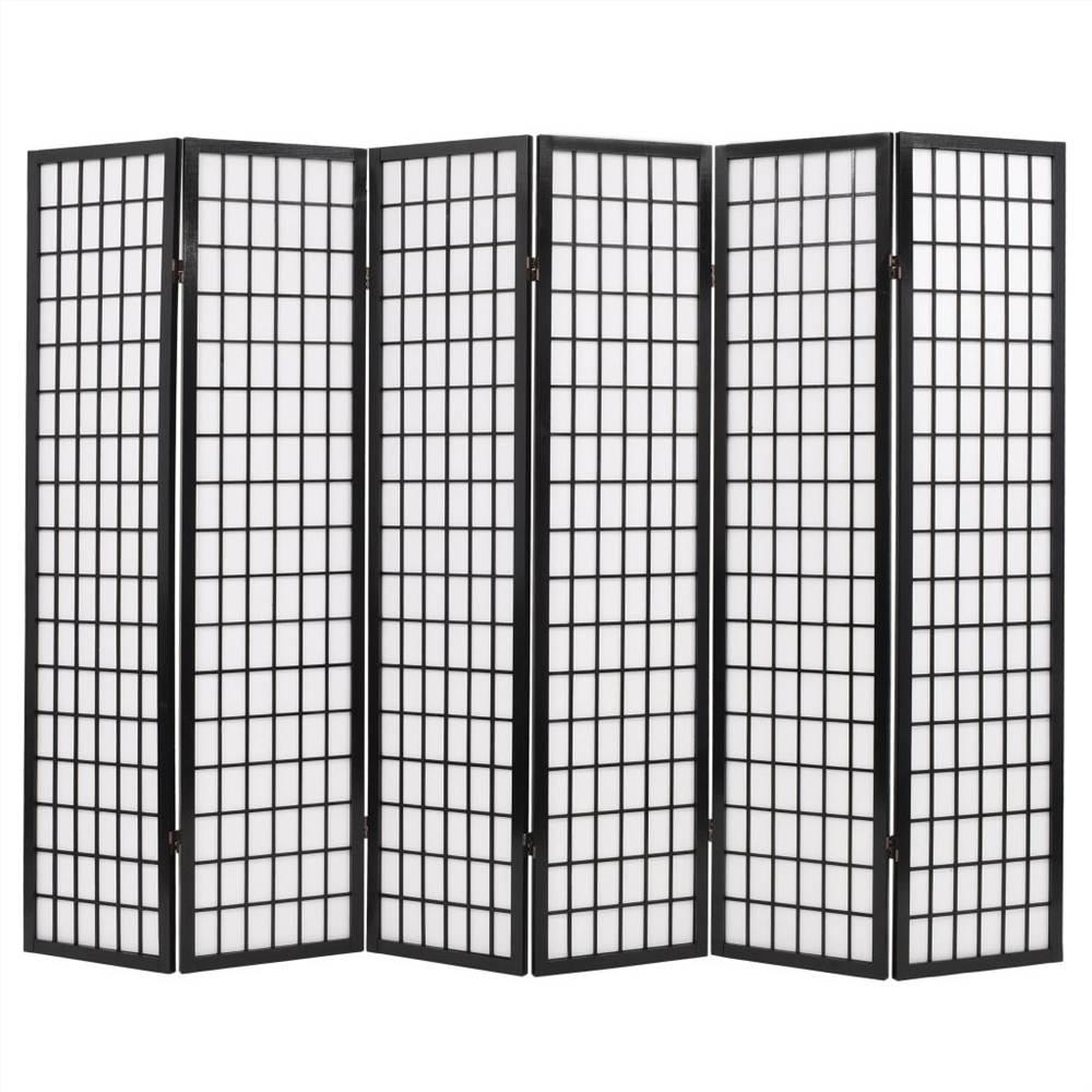 Cloison pliante à 6 panneaux style japonais 240x170 cm noir