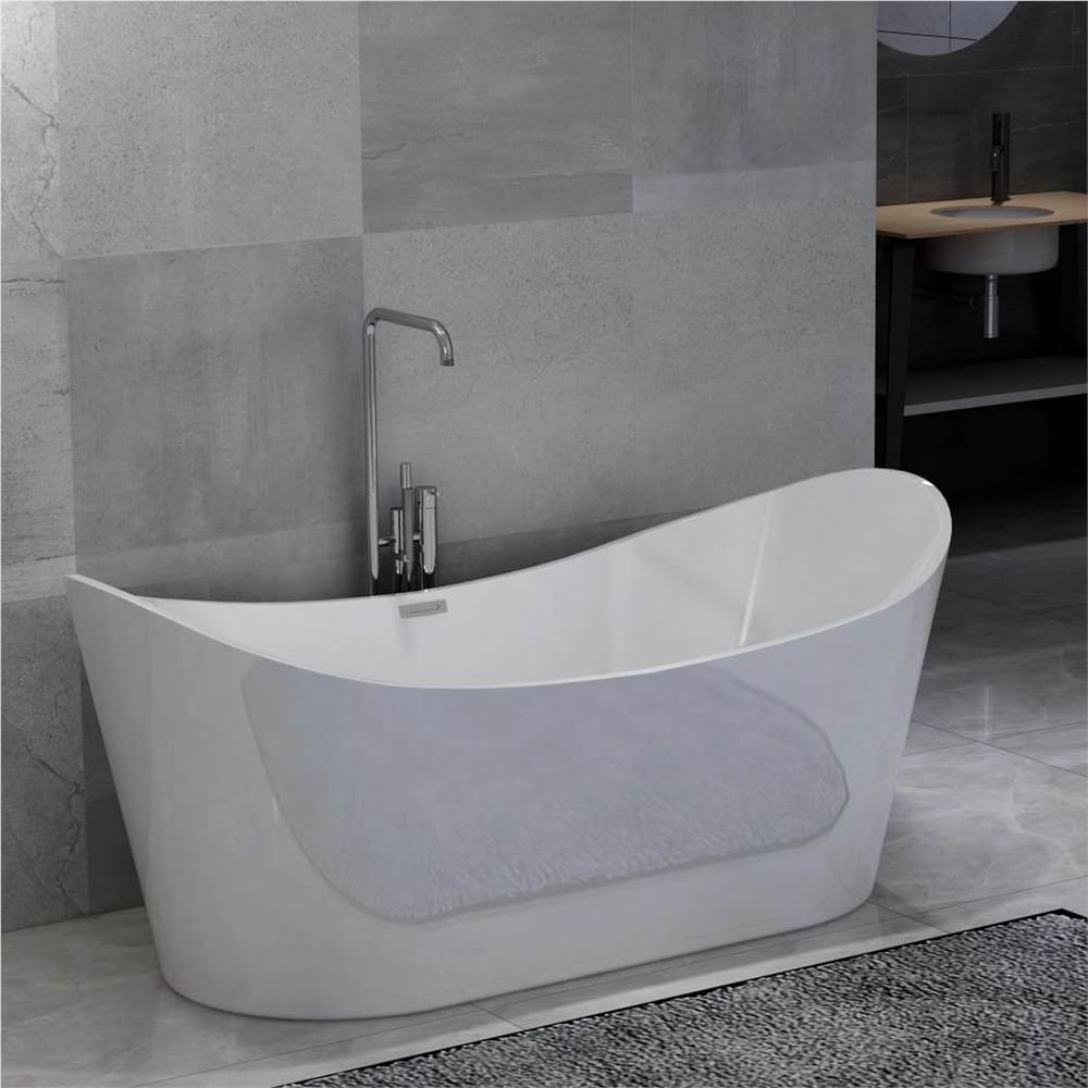Freestanding Bathtub White Acrylic 204 L
