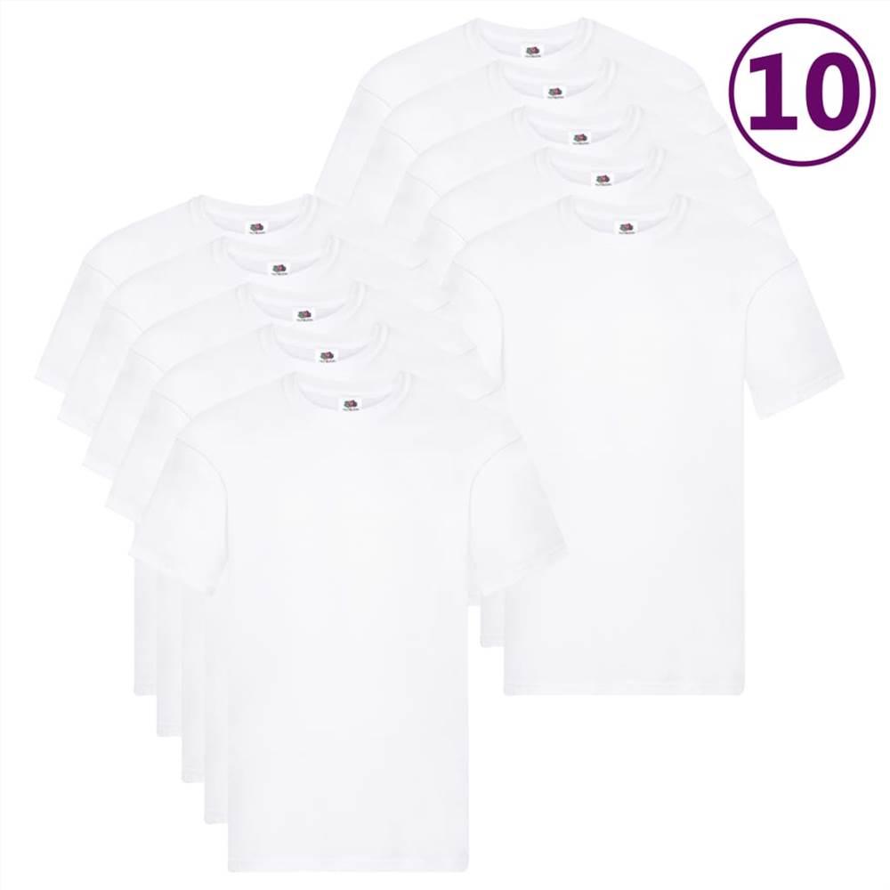 Φρούτα του Loom Γνήσια μπλουζάκια 10 τεμ Λευκό βαμβάκι XXL