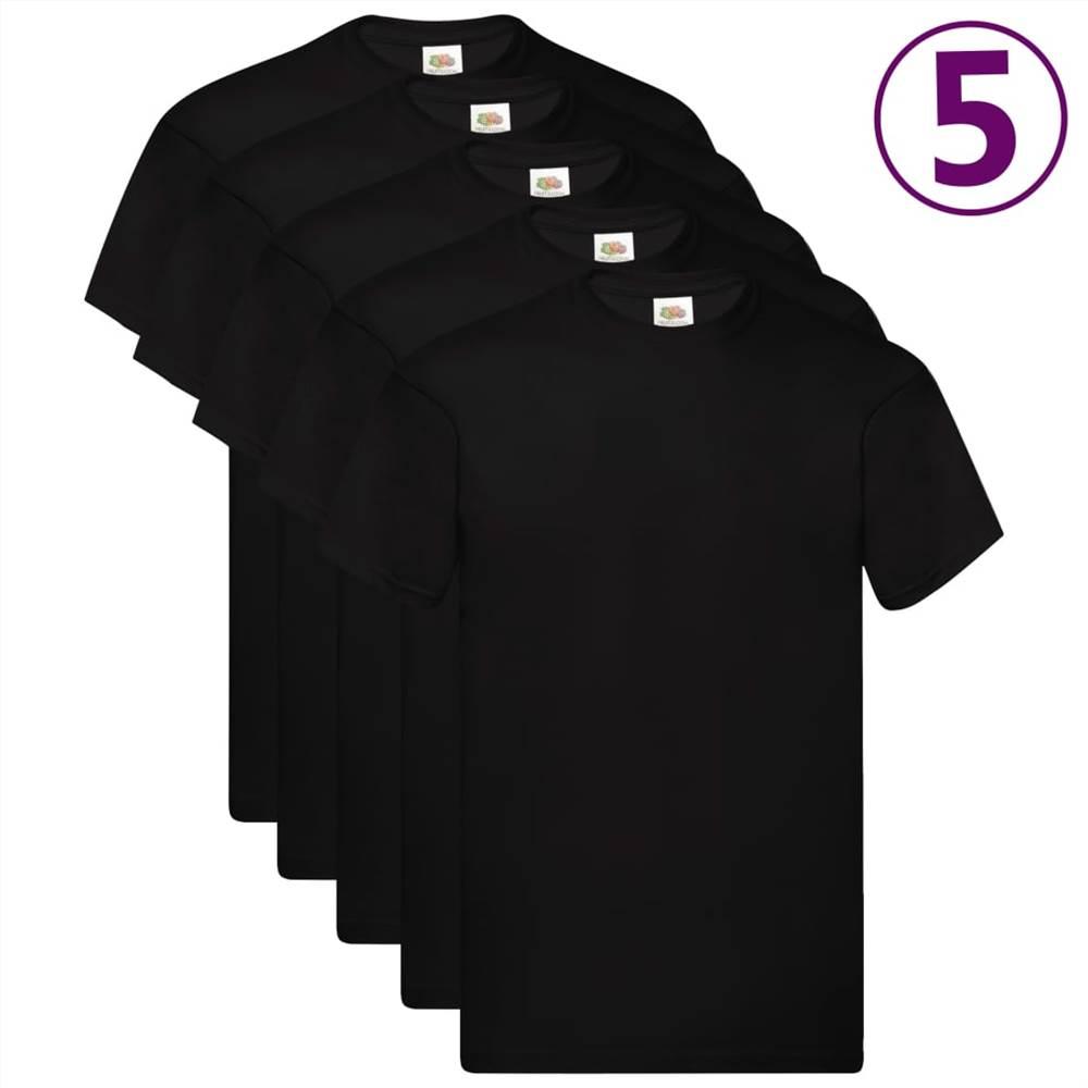 Φρούτα του Loom Γνήσια μπλουζάκια 5 τεμάχια Μαύρο L Βαμβάκι