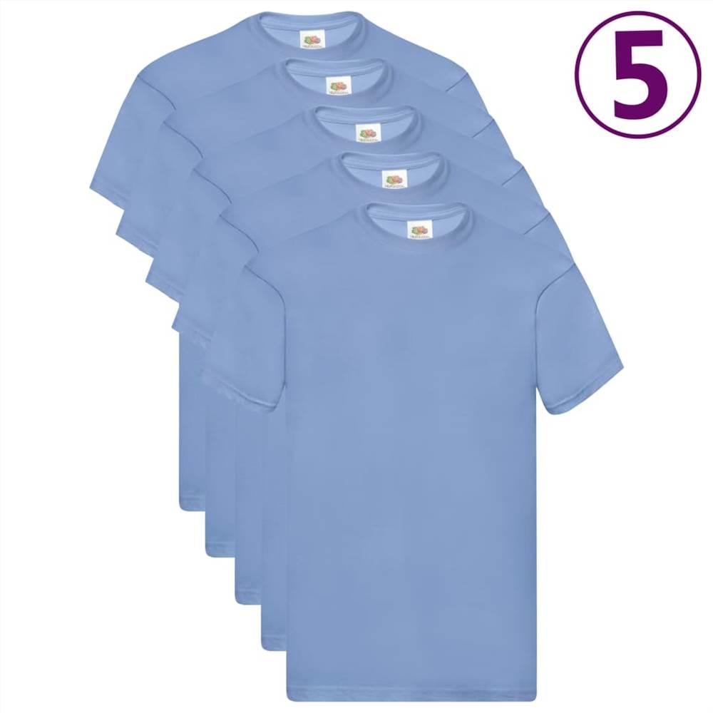 Φρούτα του Loom Γνήσια μπλουζάκια 5 τεμ Ανοιχτό Μπλε Βαμβάκι S