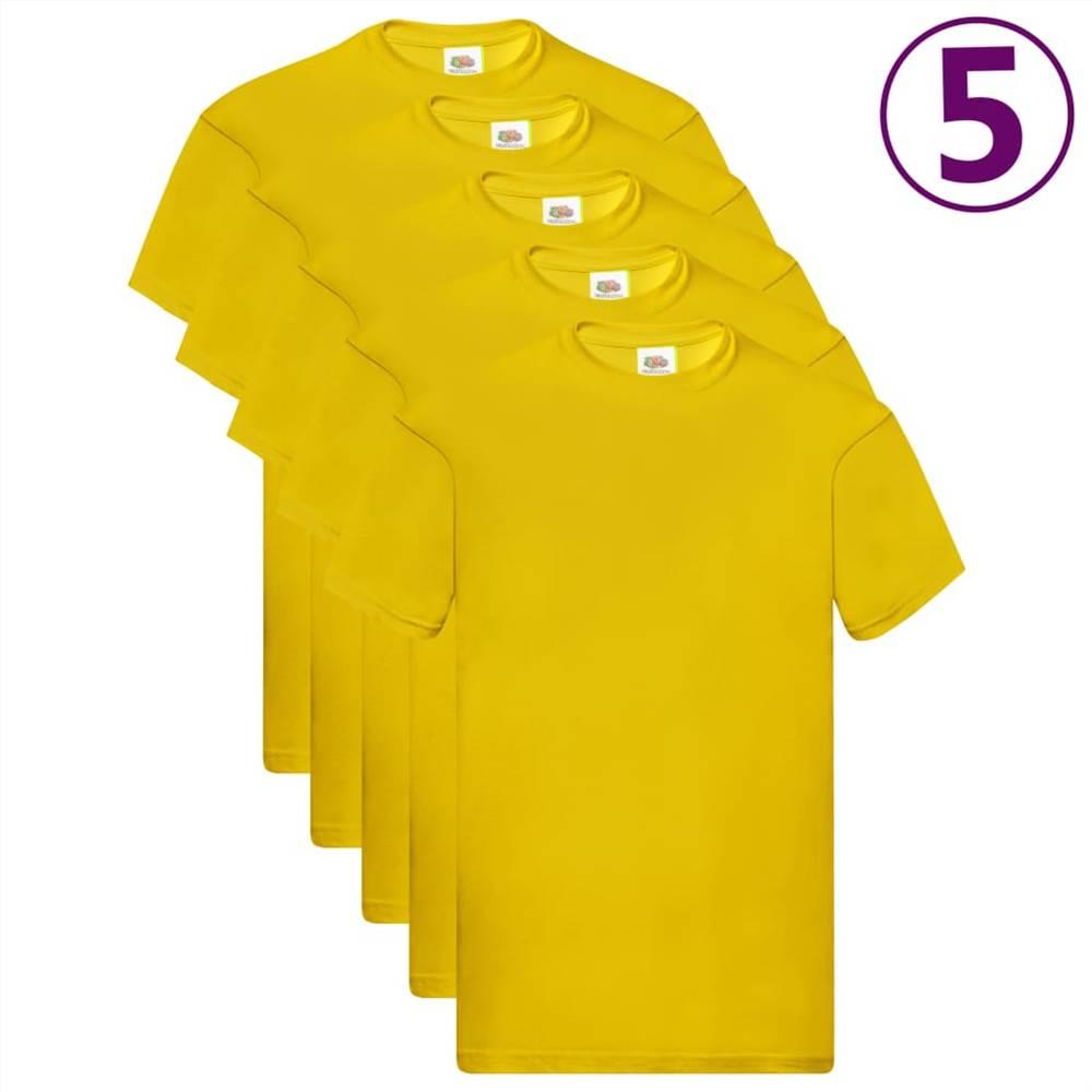 Φρούτα του Loom Γνήσια μπλουζάκια 5 τεμ Κίτρινο βαμβάκι