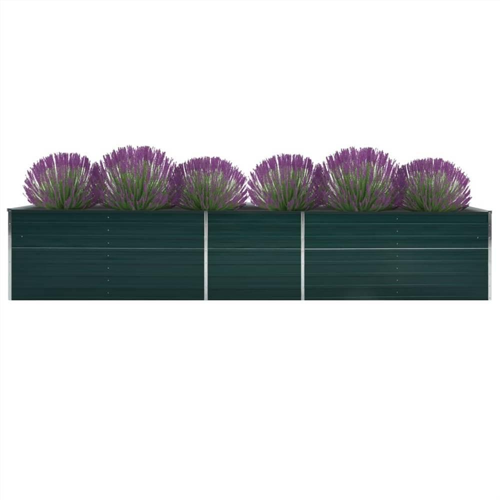 Garden Raised Bed Galvanised Steel 400x80x77 cm Green