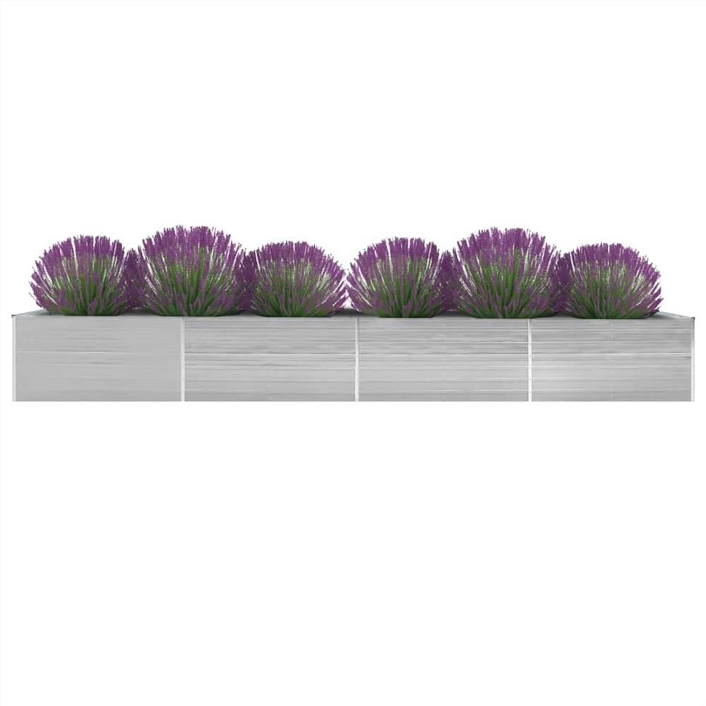 ガーデンレイズドベッド亜鉛メッキ鋼600x80x45cmグレー