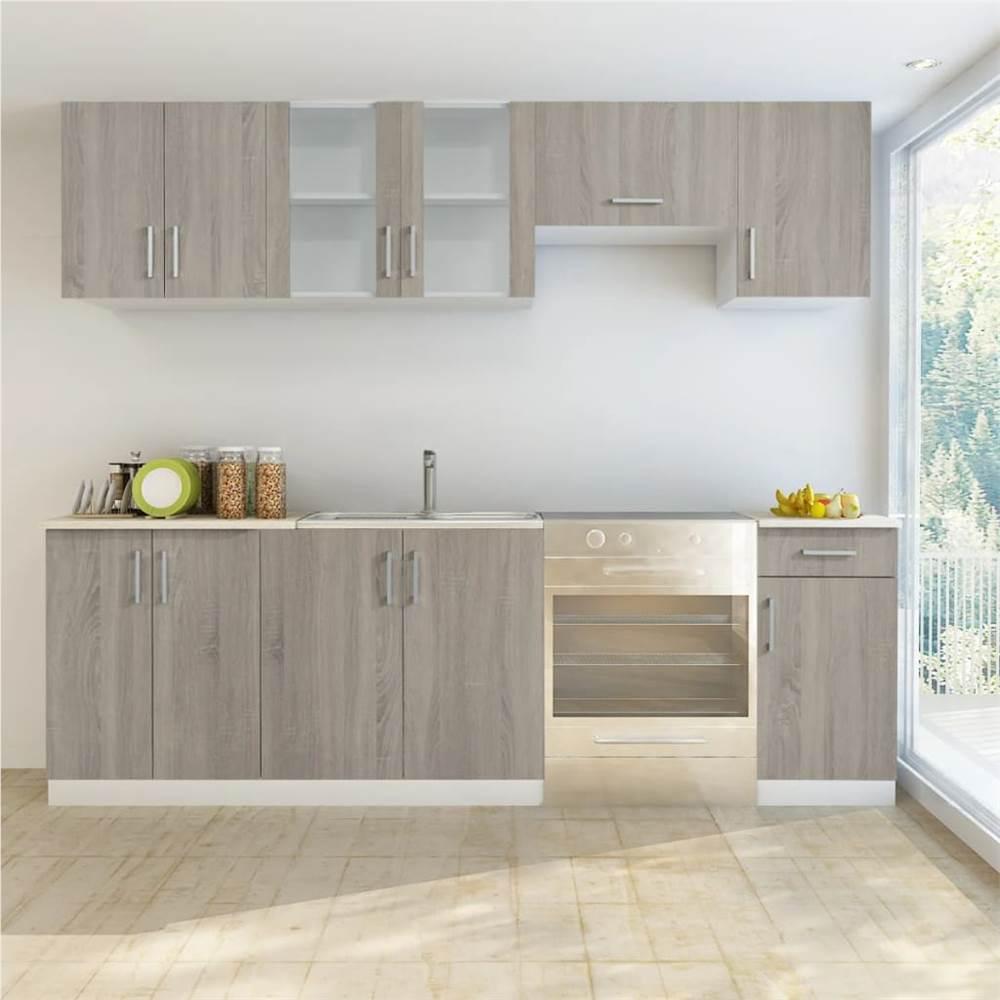 Armoire de cuisine 7 pièces aspect chêne