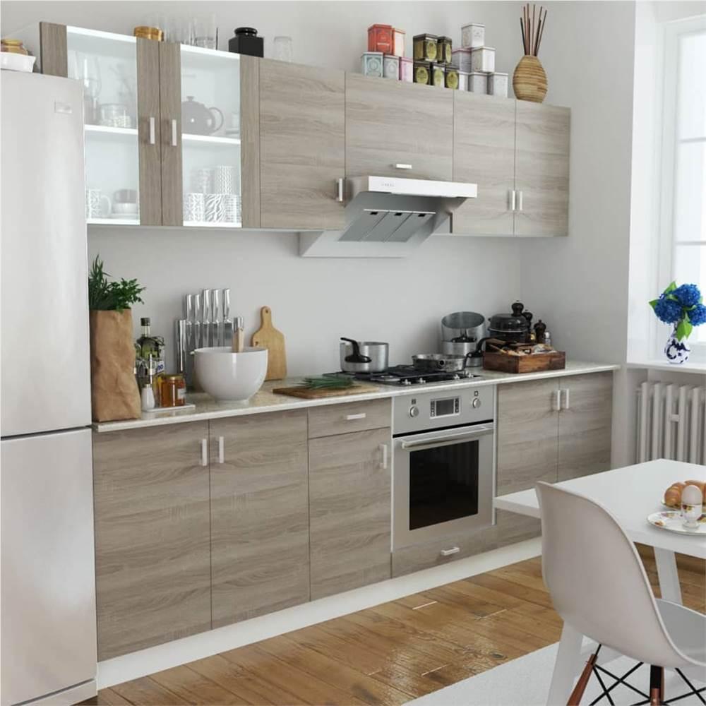 Armoire de cuisine 8 pièces aspect chêne
