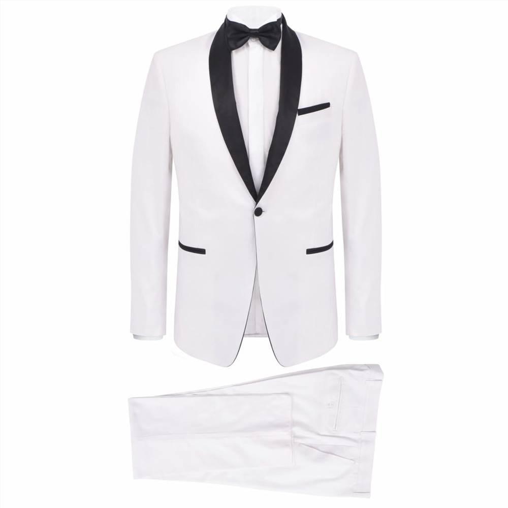 Ανδρικό κοστούμι 2 τεμαχίων με μαύρο γραβάτα / σμόκιν καπνιστών Μέγεθος 46 λευκό