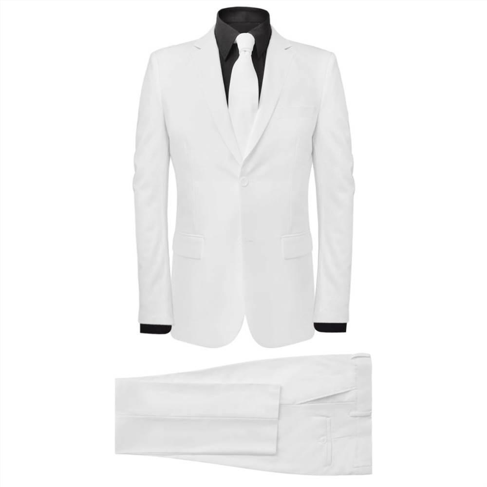 Ανδρικό κοστούμι δύο τεμαχίων με γραβάτα λευκό μέγεθος 56