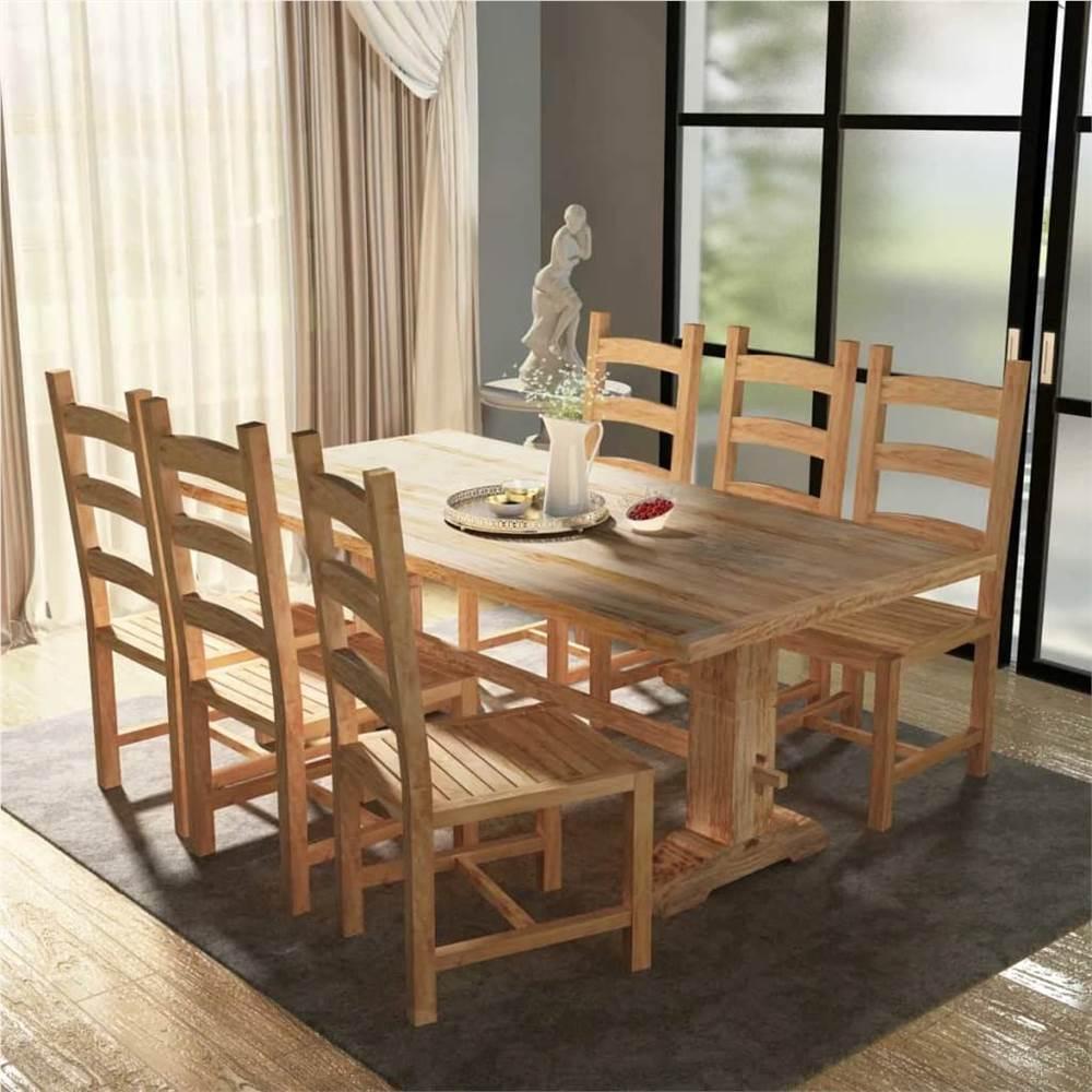 Ensemble de table et de chaise de salle à manger de sept pièces en teck