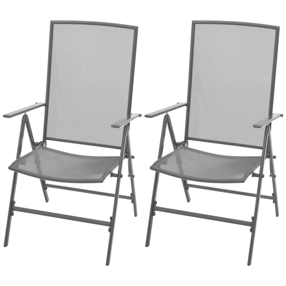 Stapelbare Gartenstühle 2 Stk. Stahlgrau